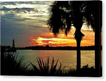 Sunset Over Lake Sumter Landing Canvas Print by Betty Eich