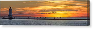 Canvas Print featuring the photograph Sunset Over Ludington Panoramic by Adam Romanowicz