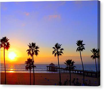 Sunset Over Manhattan Beach Canvas Print