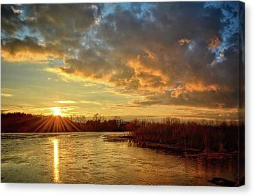 Sunset Over Marsh Canvas Print by Bonfire Photography