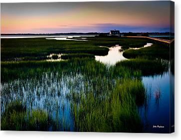 Sunset Over Marsh, Atlantic Beach, North Carolina Canvas Print by John Pagliuca