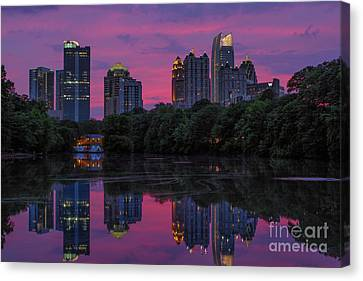 Dogwood Lake Canvas Print - Sunset Over Midtown by Doug Sturgess