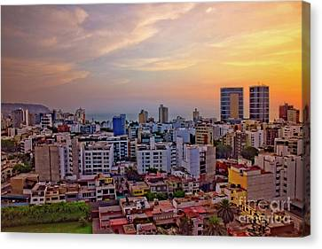 Canvas Print featuring the photograph Sunset Over Miraflores, Lima, Peru by Mary Machare