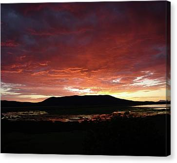 Canvas Print featuring the painting Sunset Over Mormon Lake by Dennis Ciscel