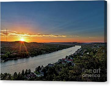Landscapes Canvas Print - Sunset Over Mount Bonnell by Tod and Cynthia Grubbs