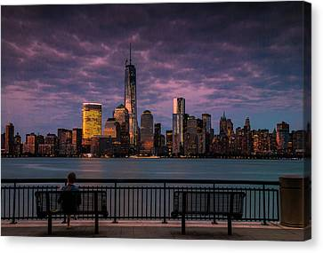 Canvas Print featuring the photograph Sunset Over New World Trade Center New York City by Ranjay Mitra