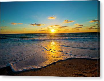 Sunset Over Ocean  Canvas Print by Kevin Cable