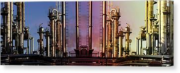 Canvas Print featuring the photograph Sunset Over Oil And Gas Industry by Christian Lagereek