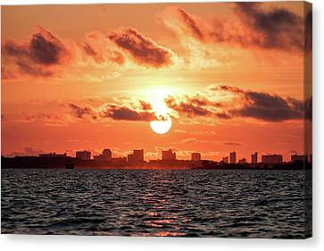 Sunset Over Panama City Beach Canvas Print by Debra Forand