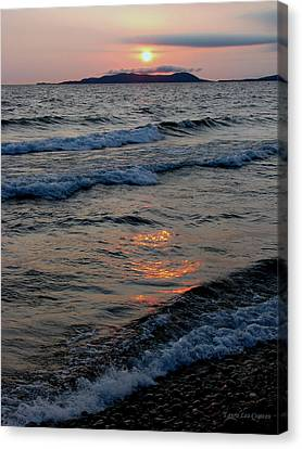 Sunset Over Pic Island Canvas Print by Laura Wergin Comeau