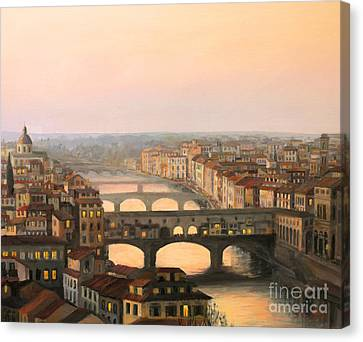 Ancient Canvas Print - Sunset Over Ponte Vecchio In Florence by Kiril Stanchev