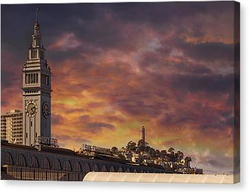 Canvas Print - Sunset Over Port Of San Francisco Ferry Building by David Gn