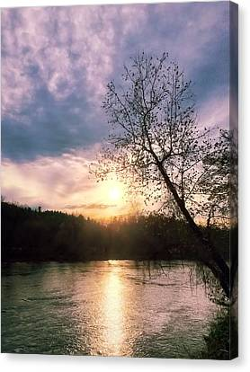 Sunset Over River Canvas Print