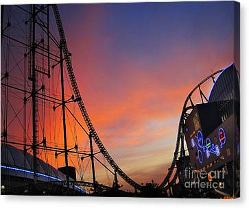 Sunset Over Roller Coaster Canvas Print by Eena Bo