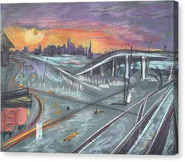 Sunset Over San Francisco And Oakland Train Tracks Canvas Print by Asha Carolyn Young