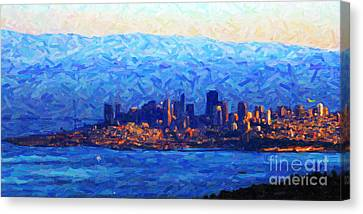 Sunset Over San Francisco Bay Canvas Print by Wingsdomain Art and Photography