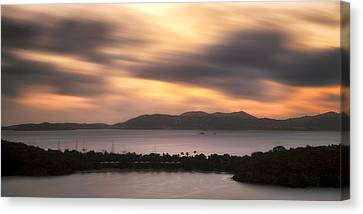Canvas Print featuring the photograph Sunset Over St. John And St. Thomas Panoramic by Adam Romanowicz