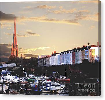 Canvas Print featuring the photograph Sunset Over St Mary Redcliffe Bristol by Terri Waters