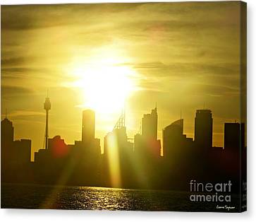 Sunset Over Sydney Canvas Print by Leanne Seymour