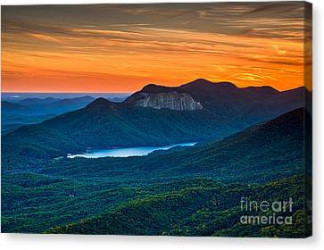 Sunset Over Table Rock From Caesars Head State Park South Carolina Canvas Print by T Lowry Wilson