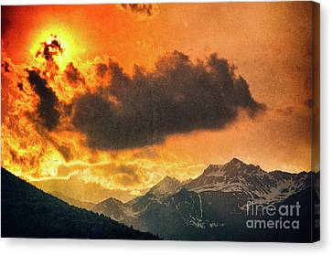 Sunset Over The Alps Canvas Print