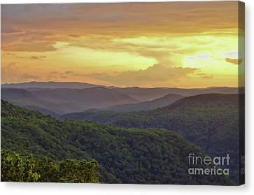 Canvas Print featuring the photograph Sunset Over The Bluestone Gorge - Pipestem State Park by Kerri Farley