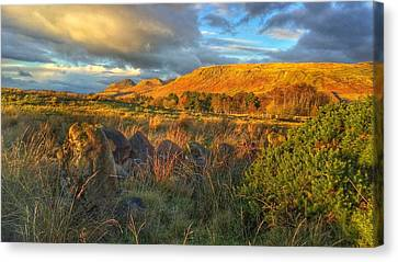Canvas Print featuring the photograph Sunset Over The Campsie Fells by RKAB Works