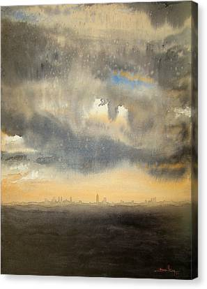 Canvas Print featuring the painting Sunset Over The City by Andrew King