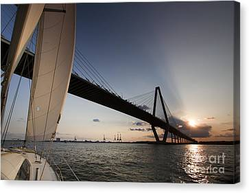 Sunset Over The Cooper River Bridge Charleston Sc Canvas Print by Dustin K Ryan
