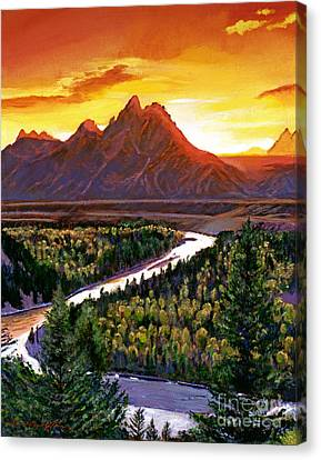 Sunset Over The Grand Tetons Canvas Print by David Lloyd Glover