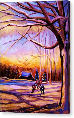 Sunset Over The Hockey Game Canvas Print by Carole Spandau