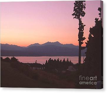 Sunset Over The Hood Canal In Washington State Canvas Print