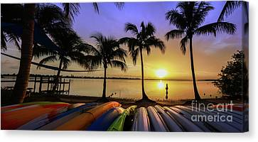 Sunset Over The Kayaks Canvas Print
