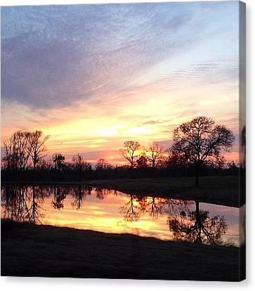 Sunset On The Lake Canvas Print by Jen McKnight