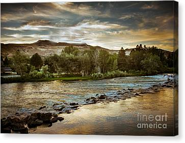 Sunset Over The Payette River Canvas Print by Robert Bales