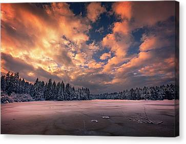 Sunset Over The Pound Canvas Print by Dominique Dubied