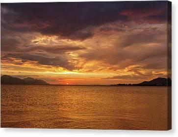 Sunset Over The Sea, Opuzen, Croatia Canvas Print