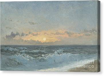 Setting Canvas Print - Sunset Over The Sea by William Pye