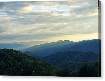 Sunset Over The Smokey's Canvas Print by Laurie Perry