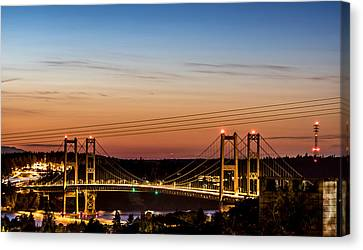 Sunset Over The Tacoma Narrows Bridges Canvas Print by Rob Green