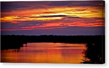 Sunset Over The Tomoka Canvas Print by DigiArt Diaries by Vicky B Fuller