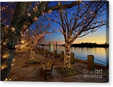 Sunset Over The Wilmington Waterfront In North Carolina, Usa Canvas Print by Sam Antonio Photography