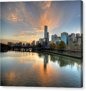 Sunset Over The Yarra River, Melbourne Canvas Print by Sergio Amiti