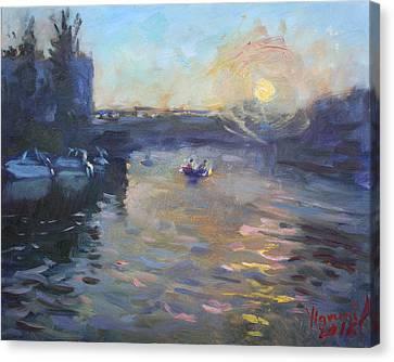 Sunset Over Tonawanda Canal  Canvas Print
