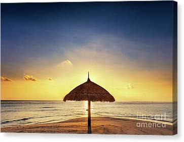 Sunset Over Tropical Sandbank Island With Sunshade At Sunset. Maldives. Canvas Print