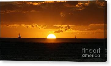Sunset Over Waikiki Canvas Print by Angela DiPietro