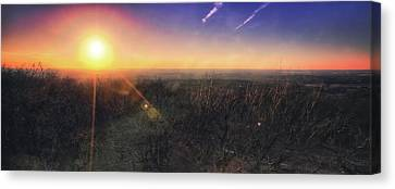 Sunset Over Wisconsin Treetops At Lapham Peak  Canvas Print by Jennifer Rondinelli Reilly - Fine Art Photography
