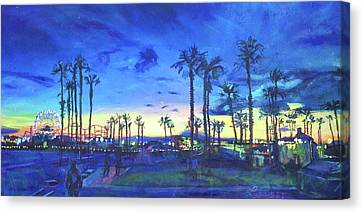 Sunset Palms Santa Monica Canvas Print by Bonnie Lambert