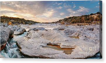 Sunset Panorama Of The Pedernales River At Pedernales Falls State Park - Jonhson City Hill Country Canvas Print by Silvio Ligutti