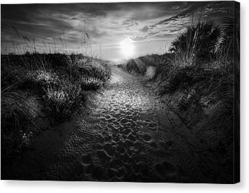 Miami Canvas Print - Sunset Path - Bw by Marvin Spates